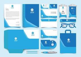 Blue Corporate Identity Set. Stationery Template Design Kit. Branding Template Editable Brand Identity pack vector