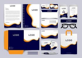 Navy Blue and Yellow  Corporate Identity Set. Stationery Template Design Kit. Branding Template Editable Brand Identity pack vector