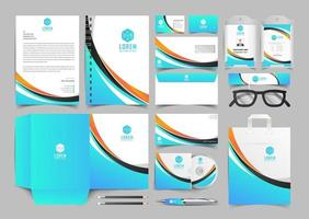 Corporate Identity Set. Stationery Template Design Kit. Branding Template Editable Brand Identity pack with abstract halftone effect background for Business Company and Finance Vector