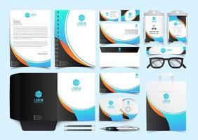 Corporate Blue and black Identity Set. Stationery Template Design Kit. Branding Template Editable Brand Identity pack vector
