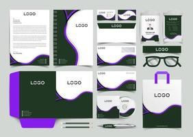 Navy Blue and Purple Corporate Identity Set. Stationery Template Design Kit. Branding Template Editable Brand Identity pack vector