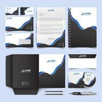 Corporate Identity Set. Blue and Black Stationery Template Design Kit. Branding Template Editable Brand Identity pack vector