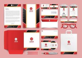 Red And Black Corporate Identity Set. Stationery Template Design Kit. Branding Template Editable Brand Identity pack vector