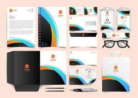Black Yellow and Blue Corporate Identity Set. Stationery Template Design Kit. Branding Template Editable Brand Identity pack vector