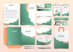 Corporate Green and Orange Identity Set. Stationery Template Design Kit. Branding Template Editable Brand Identity pack vector