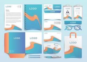 Corporate Identity Set. Blue and Yellow Stationery Template Design Kit. Branding Template Editable Brand Identity pack vector