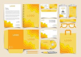 Corporate Yellow paper cut Identity Set. Stationery Template Design Kit. Branding Template Editable Brand Identity pack vector