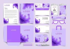 Purple Papercut Corporate Identity Set. Stationery Template Design Kit. Branding Template Editable Brand Identity pack vector