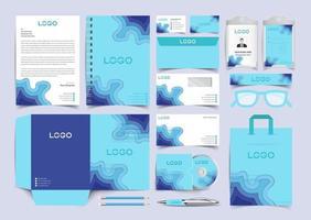 Corporate Blue paper cut Identity Set. Stationery Template Design Kit. Branding Template Editable Brand Identity pack vector