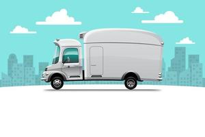 Big isolated delivery vehicle vector icons, flat illustrations of truck, logistic commercial transport concept.