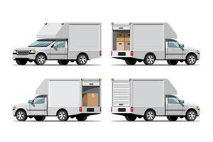 Big isolated vehicle vector icons set, flat illustrations various view of van, logistic commercial transport concept.
