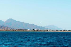 Seascape view from Dahab Sina Egypt Landscape sea and mountains photo