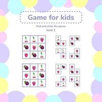 vector illustration. Puzzle game for preschool children. berries