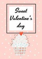 Vector illustration. Postcard for Valentine's day. cake.