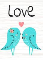 Vector illustration. Postcard for Valentine's day. cute lovers b