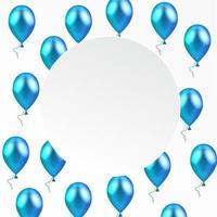 vector illustration. Blue balloons. paper round banner.