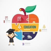 Education Apple shape jigsaw banner. Concept Design infographic Template vector illustration