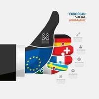 pulgar hacia arriba los datos comerciales. elementos abstractos del concepto de rompecabezas con iconos. ilustración vectorial plantilla de diseño de infografías de viajes y negocios de Europa para la presentación. vector
