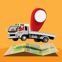 Big isolated vehicle vector colorful icons, flat illustrations of delivery by van through GPS tracking location. delivery vehicle, goods and  parcel delivery, instant delivery, online delivery.