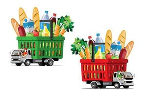 Big isolated vehicle vector colorful icons, flat illustrations of delivery by van through GPS tracking location. delivery vehicle, goods and  food delivery, instant delivery, online delivery.