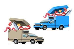 Big isolated vehicle vector colorful icons, flat illustrations of delivery by van through GPS tracking location. delivery vehicle, fish and  food delivery, instant delivery, online delivery.