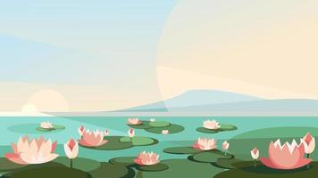 Landscape with lotuses on the river. vector