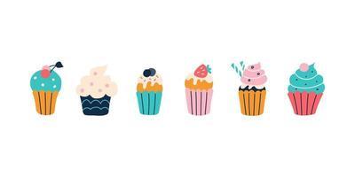 un conjunto de cupcakes de colores brillantes sobre un fondo blanco al estilo de garabatos planos. ilustración vectorial. decoración de la habitación de los niños, carteles, postales, ropa y artículos de interior vector