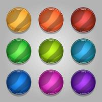 Icons set for isometric game elements, colorful isolated vector illustration of Colorful circle blank button for abstract flat game concept