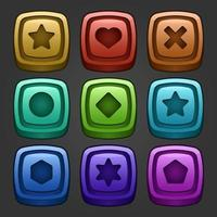 Icons set for isometric game elements, colorful isolated vector illustration of Puzzle game blocks for abstract flat game concept