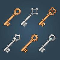 Conjunto de iconos para elementos de juego isométricos, ilustración de vector aislado colorido de llaves de bronce y plata para el concepto de juego plano abstracto