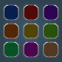 Icons set for isometric game elements, colorful isolated vector illustration of Tech blank buttons for abstract flat game concept