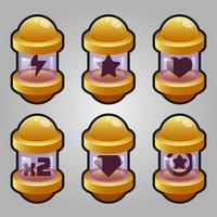 Icons set for isometric game elements, colorful isolated vector illustration of Game capsule item boosters for abstract flat game concept