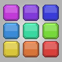 Icons set for isometric game elements, colorful isolated vector illustration of Octagon blank buttons for abstract flat game concept