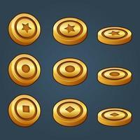 Conjunto de iconos para elementos de juego isométricos, ilustración de vector aislado colorido de tres monedas de oro de vista para el concepto de juego plano abstracto