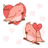 Big isolated hand drawn cartoon vector character design bird couple in love, doodle style Valentine concept animal flat vector illustration