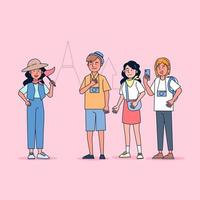Character collection of tourist big set isolated flat vector illustration wearing professional uniform, cartoon style on tourist guiding theme