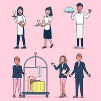Character collection of catering big set isolated flat vector illustration wearing professional uniform, cartoon style on hotel theme