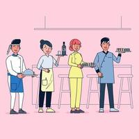 Character collection of catering big set isolated flat vector illustration wearing professional uniform, cartoon style