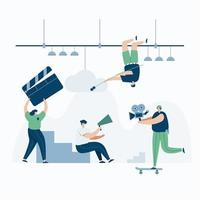 Video Grapher working with video web template, cartoon style Screen web template for mobile phone, landing page, template, UI, web, mobile app, poster, banner, flat Vector illustration
