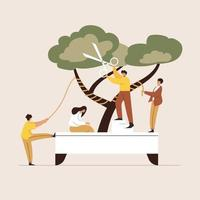 Cutting tree web template, cartoon style Screen web template for mobile phone, landing page, template, UI, web, mobile app, poster, banner, flat Vector illustration
