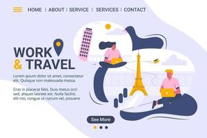 Work and travel web template, freelanceing services, cartoon style Screen web template for mobile phone, landing page, template, UI, web, mobile app, poster, banner, flat Vector illustration