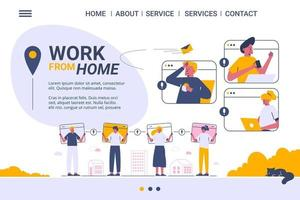 Work from home web template, freelanceing services, cartoon style Screen web template for mobile phone vector