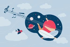 Musician doing music web template, cartoon style Screen web template for mobile phone, landing page, template, UI, web, mobile app, poster, banner, flat Vector illustration