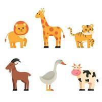 Bundle of isolated cute animal cartoon characters flat  vector illustration
