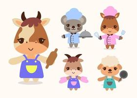 Bundle of isolated cute animal cooking cartoon characters flat vector