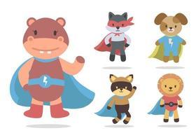 Bundle of isolated cute animal cartoon super hero characters flat vector