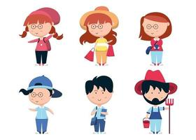 Set of people with different action in cartoon character flat vector