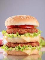 Appetizing double cheeseburger photo