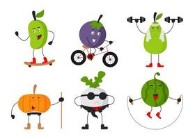 Set of fruit and vegetable in cartoon characters flat vector