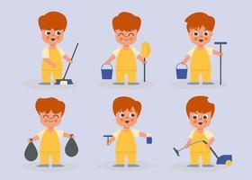 Set of male housekeeper in cartoon characters flat vector